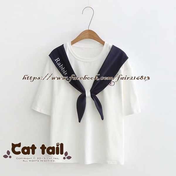 《貓尾巴》TS-0725學院風兔子刺繡短袖T恤(森林系日系棉麻文青清新)