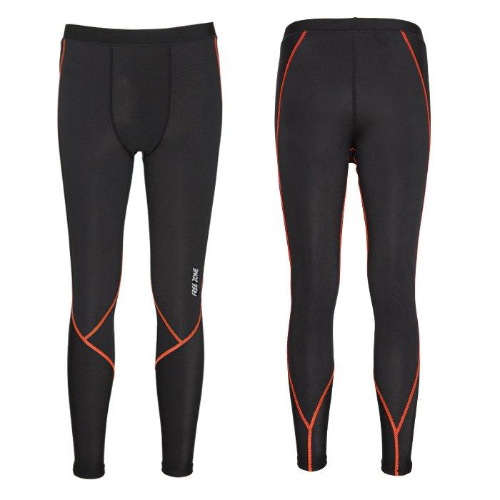 【FREEZONE 台灣】100型 機能壓力褲 運動褲 男款 橘色 (FZ100M-LONG)