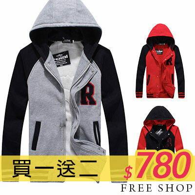 外套 Free Shop【QBJ25808】買一送二(圍巾+上衣)日韓潮流街頭風格R字配色保暖厚刷毛連帽造型棒球外套‧三色 情侶款