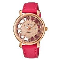 送女生聖誕交換禮物到CASIO SHEEN SHE-4047LTD-4A羅馬鏤空數字三針流行腕錶/玫瑰金色34mm