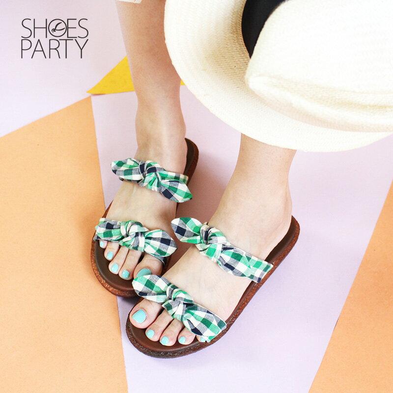 【S2-18707F】Simple+雙蝴蝶結漢堡底拖鞋_Shoes Party 3