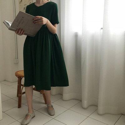 韓系日系女裝V領寬鬆腰基礎中長款短袖連身裙樂天時尚館。預購。[全店免運]