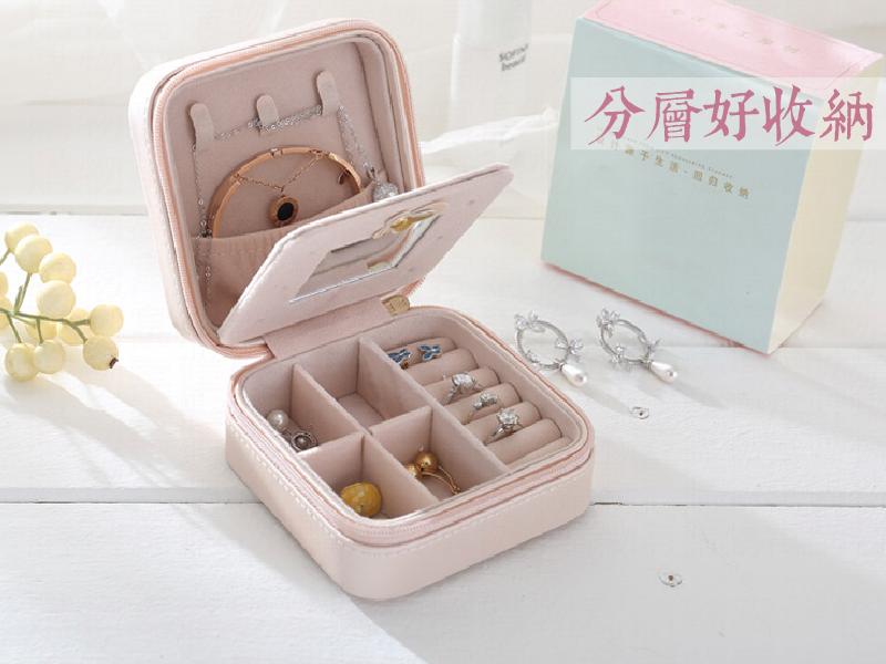 【隨身飾品收納盒】飾品盒 珠寶盒 鏡子珠寶盒 首飾盒 首飾收納盒 飾品收納【AB108】 4