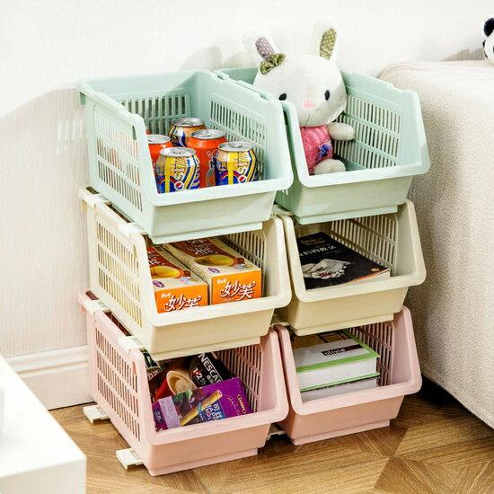 ♚MY COLOR♚日式可疊加收納籃 廚房 居家 蔬菜 水果 玩具 書本 雜誌 分類 籃子 衛浴【A23】
