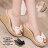 格子舖*【KP6637】日系雜誌 性感透視膠片 卡哇伊雪紡蝴蝶結 仿木紋厚底增高楔型 拖鞋 2色 0