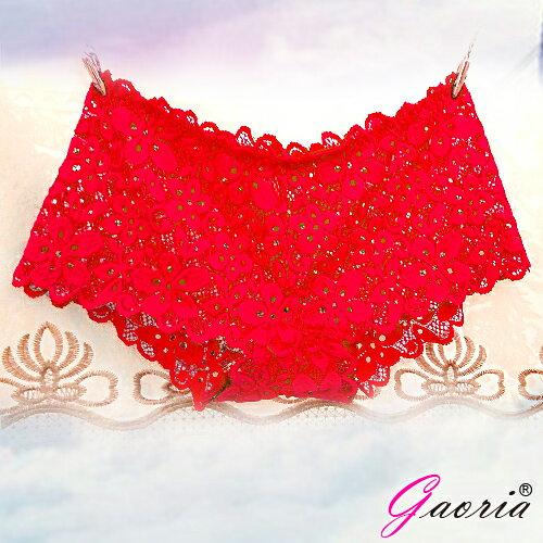 情趣用品-買就送潤滑液隨身包【Gaoria】想入非非一片式蕾絲款冰絲無痕內褲紅色T-045