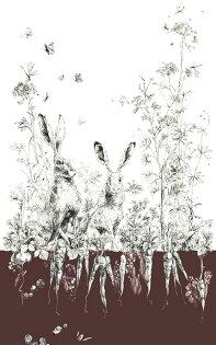 壁紙屋本舖:插畫兔子紋CatherineGran法國壁紙RM101-03