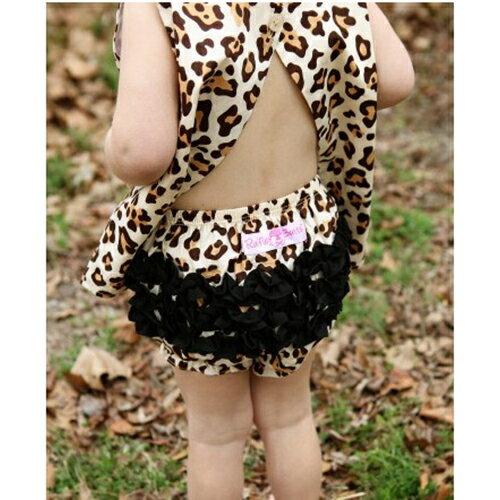 【hella 媽咪寶貝】美國 RuffleButts 小女童荷葉屁屁褲/包屁褲 野性豹紋(RBRBW017)