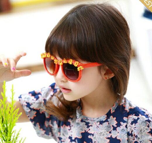 Kocotree◆夏日海洋風可愛花朵鏡框兒童防紫外線護目太陽眼鏡-橘色