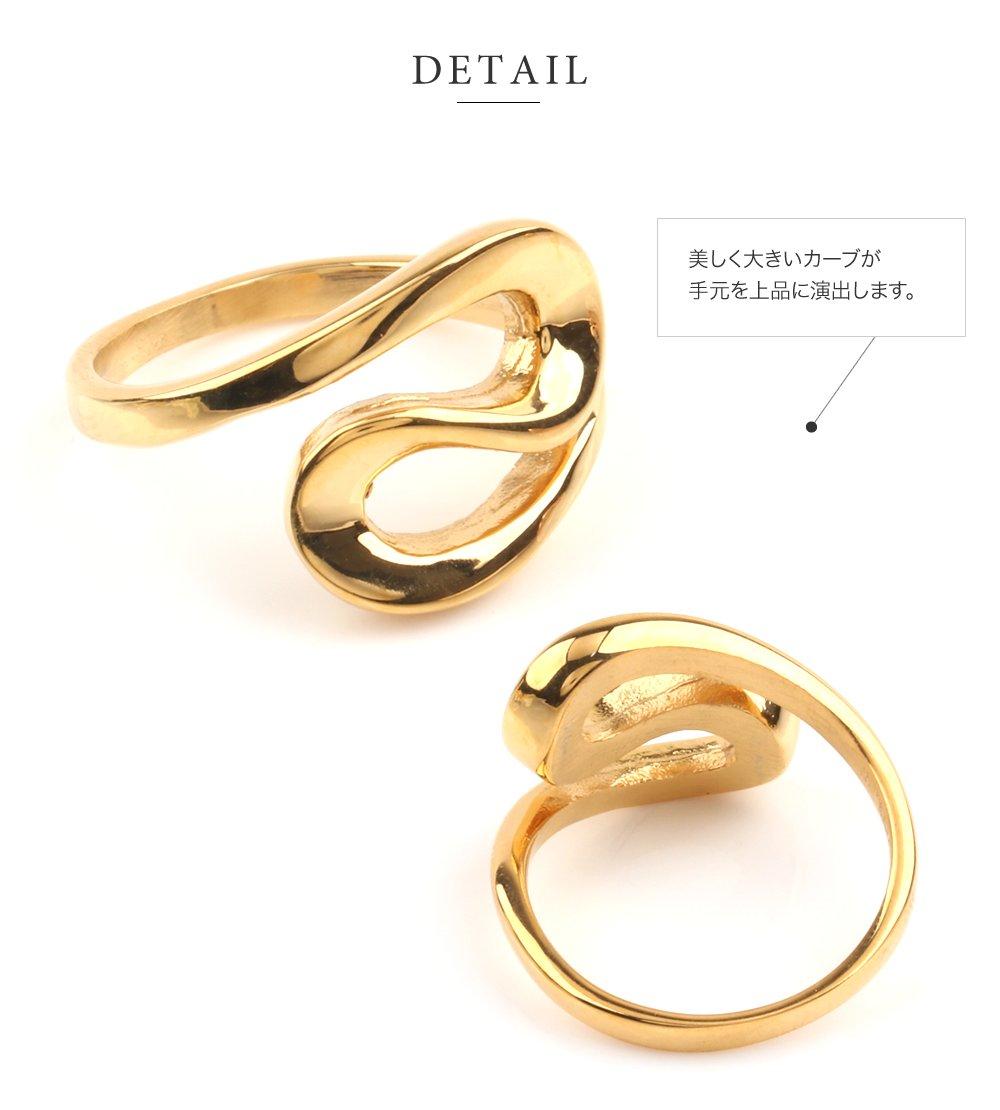 日本CREAM DOT  /  リング 指輪 ステンレス製 低アレルギー レディース 大きいサイズ 9号 12号 15号 17号 カーブリング ファッションリング 大人カジュアル シンプル ゴールド シルバー ピンクゴールド  /  a03643  /  日本必買 日本樂天直送(1790) 3