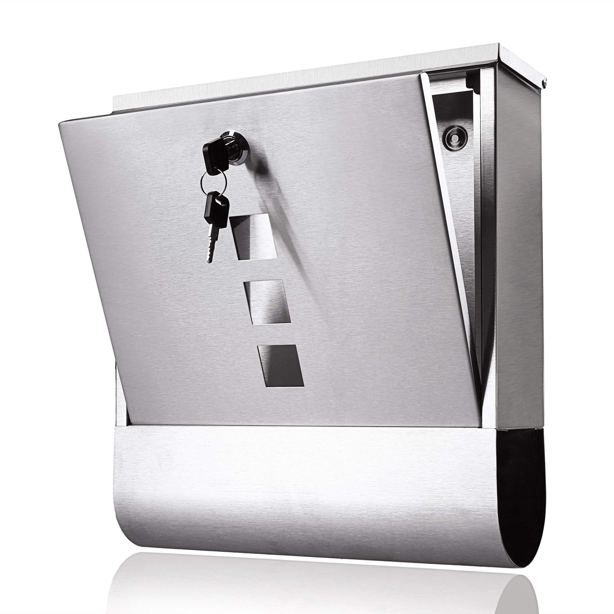 Stainless Steel Mailbox Mail Post Box Home Use With Newspaper Holder Wall Mount 1