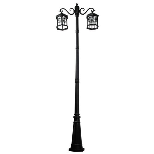8 feet high outdoor solar lamp post with two heads and LED Lights SL-3801black2.45m 0