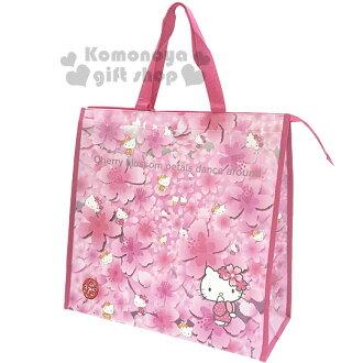 〔小禮堂〕Hello Kitty 側背購物袋《粉.櫻花.多姿勢滿版》