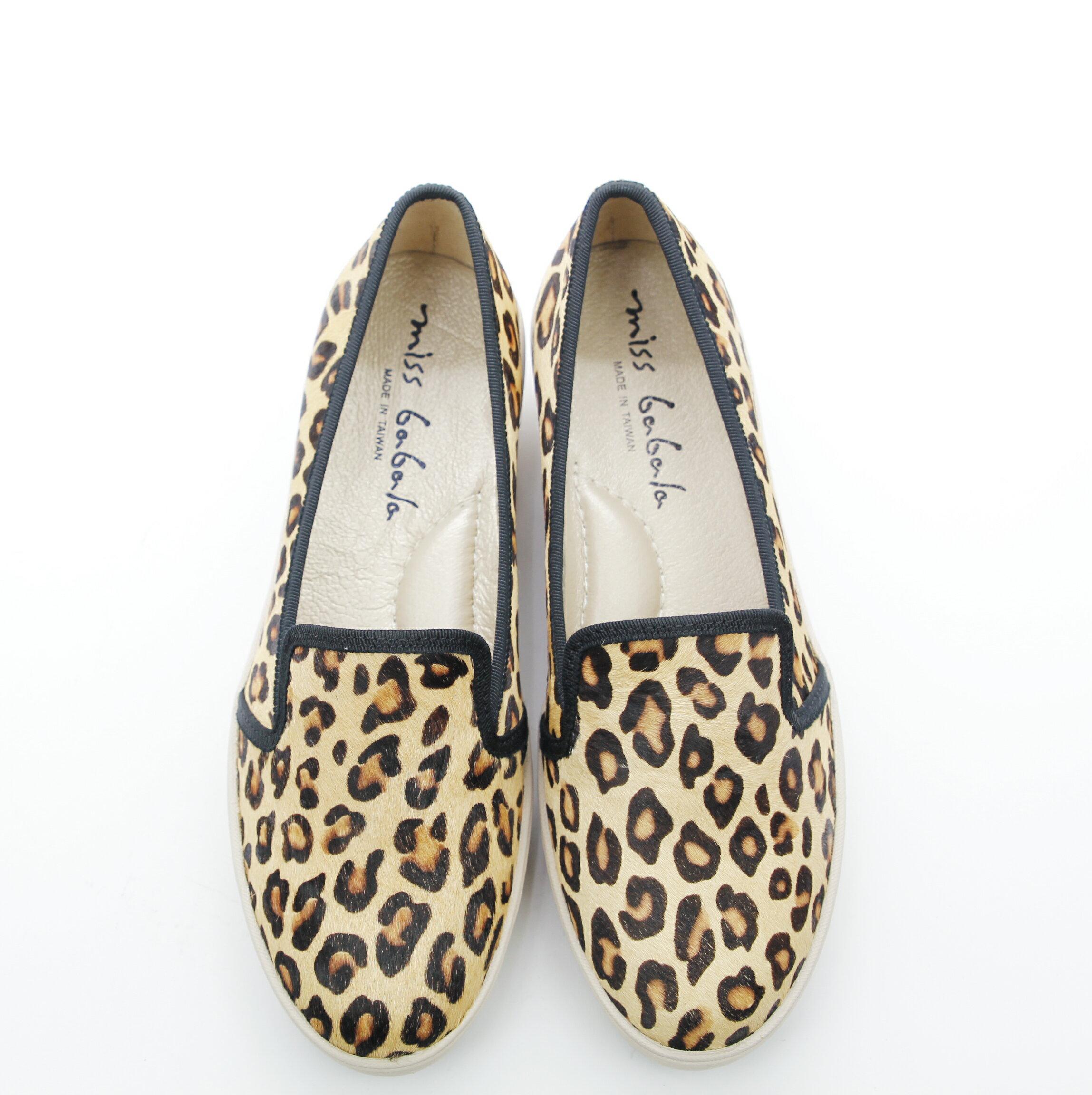 Aimez La Vie 超輕氣墊鞋|豹紋馬毛真皮內裡腳窩墊樂福厚底休閒鞋