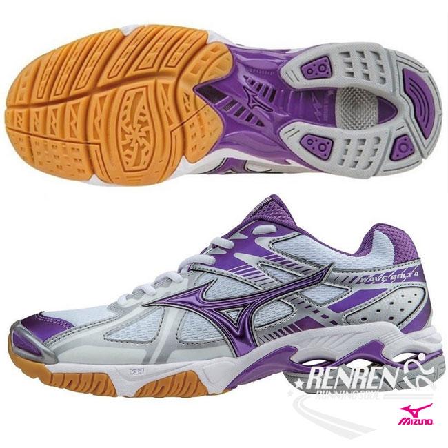 美津濃 MIZUNO 女排球鞋  白  紫  WAVE BOLT 4 高避震 ~ 胖媛的店