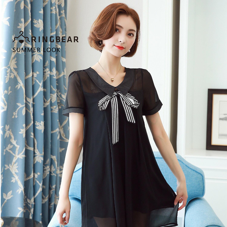 雪紡洋裝--可愛假針領2D亮片蝴蝶結雪紡假兩件式連身裙(黑L-3L)-D415眼圈熊中大尺碼