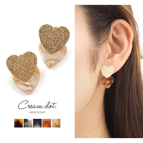 CREAMDOT心型女士穿孔耳環a01858。5色。日本必買免運代購(1078*1)