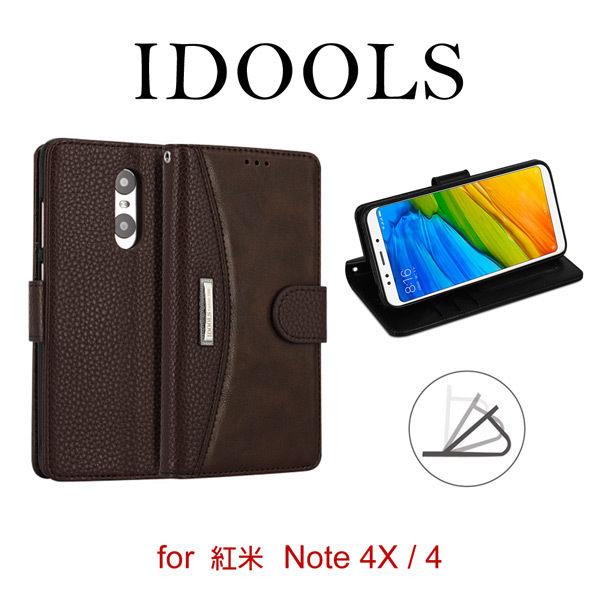 【愛瘋潮】99免運IDOOLS磁扣錢包紅米Note4X4側掀可立皮套保護殼保護套