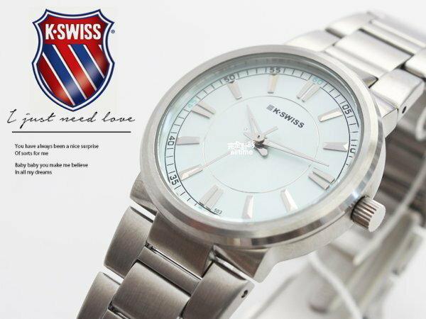 【完全計時】手錶館│KSWISS 時尚百搭款 優雅都會風格 日期顯示 水藍色93-0089-503 女錶 禮物