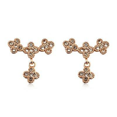 玫瑰金耳環925純銀鑲鑽耳飾~ 花朵盛開 情人節生日 女飾品2色73gs128~ ~~米蘭