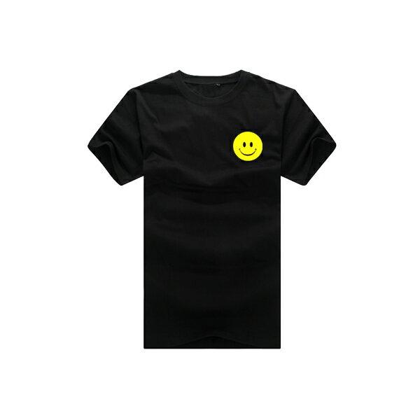 ◆快速出貨◆T恤.情侶裝.班服.MIT台灣製.獨家配對情侶裝.客製化.純棉短T.左胸簡單黃色笑臉【YC366】可單買.艾咪E舖 4