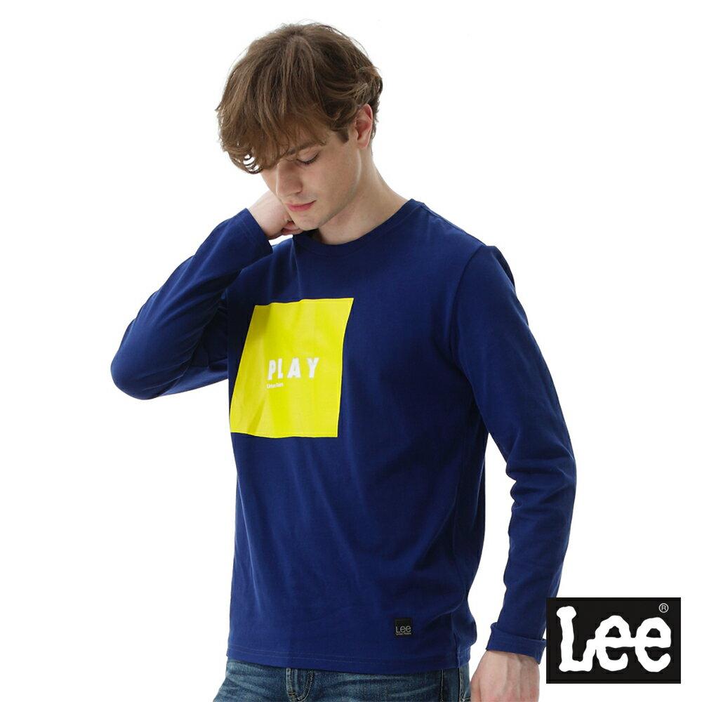Lee 方形膠印與直絨圓領長袖T恤 男款 藍