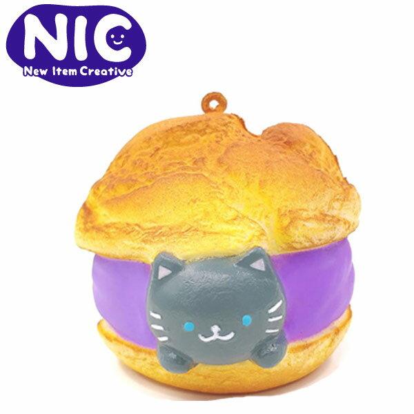 灰貓款【日本正版】cafeSAKURA捏捏吊飾泡芙造型捏捏樂軟軟Squishy-625601