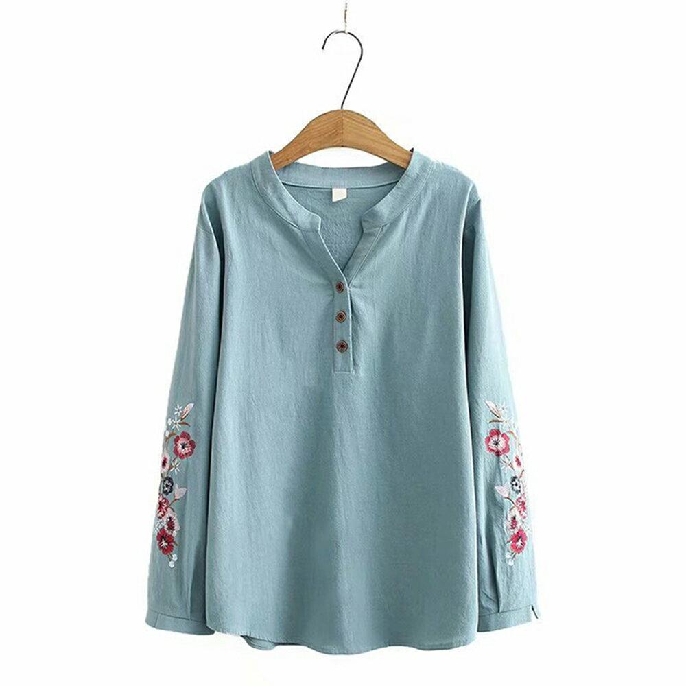 花朵刺繡棉麻V領長袖襯衫(4色XL~4XL)*ORead* 0