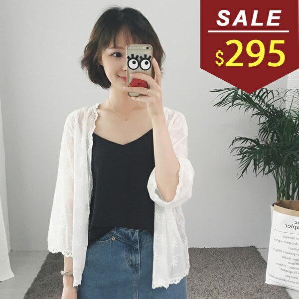 外套 蕾絲花邊七分袖雪紡外套 小豬兒 MiNi Jule 【WCA71052482】