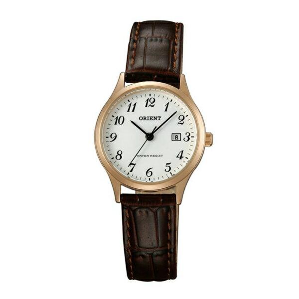 Orient東方錶(FSZ3N007W)玫瑰金阿拉伯數字復古腕錶白面28mm