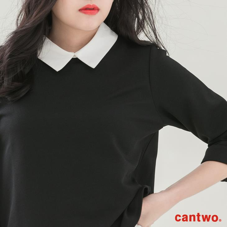 cantwo襯衫領假兩件五分袖上衣(共二色) 4