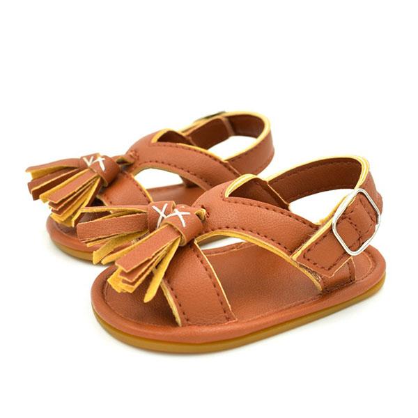 寶寶 涼鞋 流蘇 羅馬 民族風 學步鞋 羅馬鞋 防滑膠底 咖白 ANNA S.