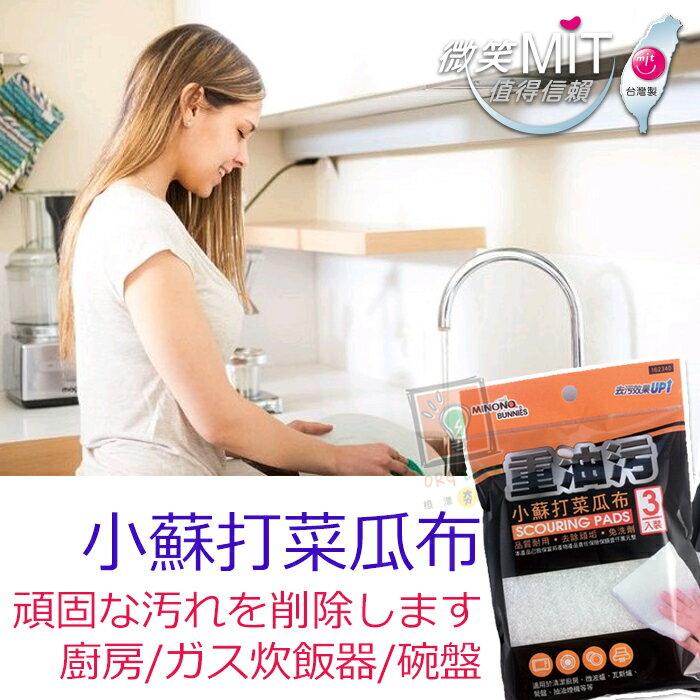 ORG《SD1077a》台灣製~3入裝 小蘇打菜瓜布 重油汙去除 洗碗刷 鍋刷 清潔刷 抽油煙機 瓦斯爐 清潔 廚房清潔