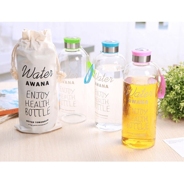 BO雜貨【SV8041】日韓塗鴉玻璃水瓶1000ml (附麻布收納袋) 超大容量 冷水壺 水瓶 玻璃瓶 水壺