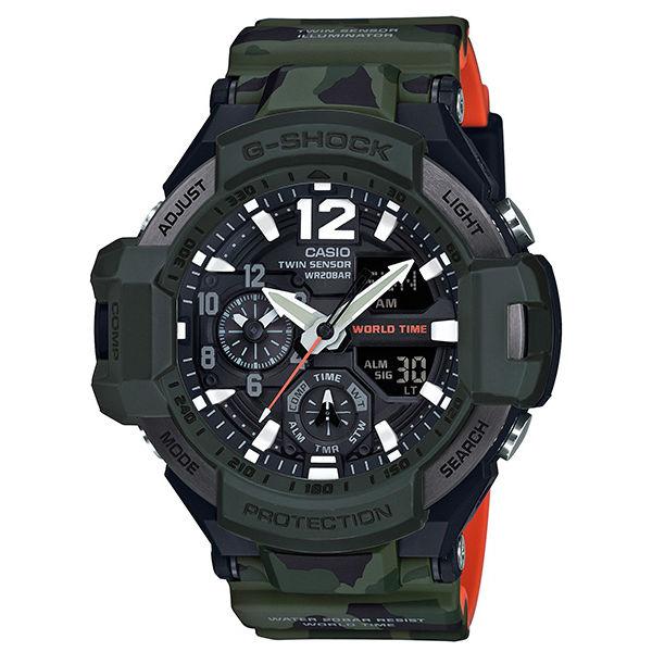 CASIOG-SHOCKGA-1100SC-3A迷彩飛行溫度測量指南針流行腕錶52mm
