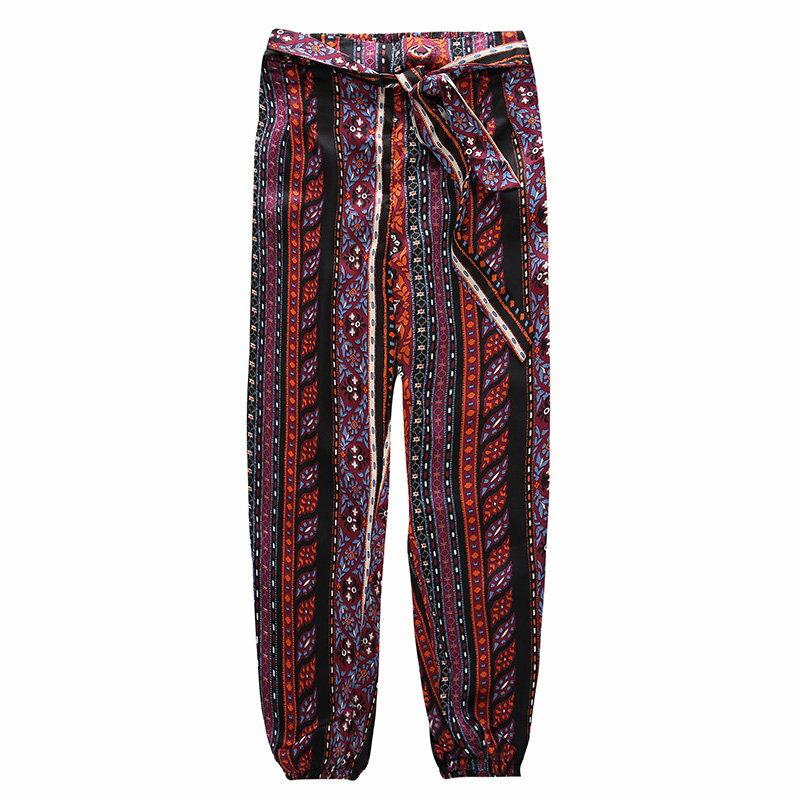 FINDSENSE G5 韓國時尚 民俗風寬褲 休閒 舒適 夏季 新款 透氣 長褲