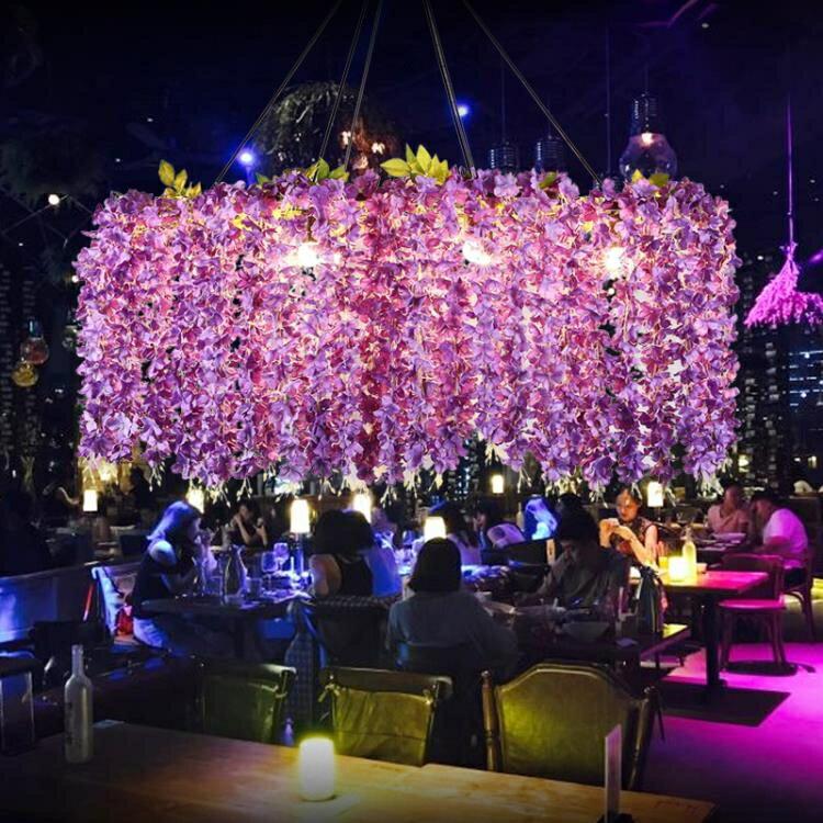 吊燈 紫藤蔓植物音樂餐廳網紅店鋪裝飾酒吧烤吧咖啡廳