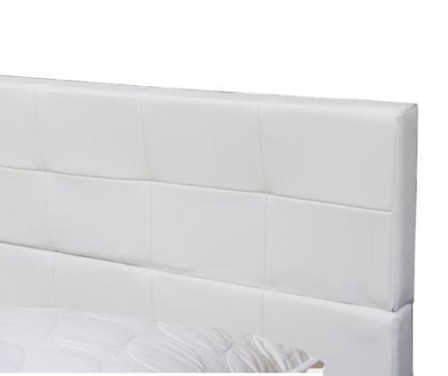 New Platform Bed Frame Upholstered White Leather Slats Headboard Bedroom Queen 6
