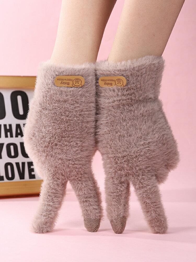 手套冬天女士可愛加絨觸屏加厚保暖冬季學生防寒騎車毛絨半指騎行