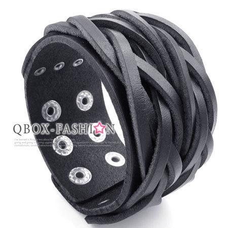 《 QBOX 》FASHION 飾品.【W10023065】精緻個性編織交叉寬版皮革手鍊/手環(黑色)