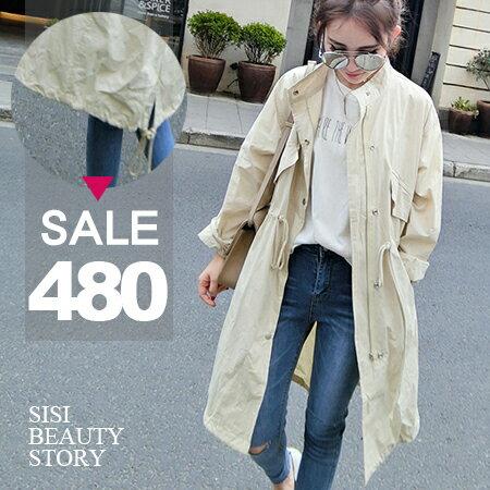 SISI~C6024~立領寬鬆腰部抽繩長袖中長款開衫薄外套風衣罩衫外套