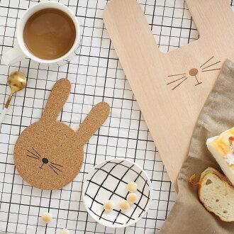 Facerabbit 兔子造型軟木塞《杯墊組》YAU3839