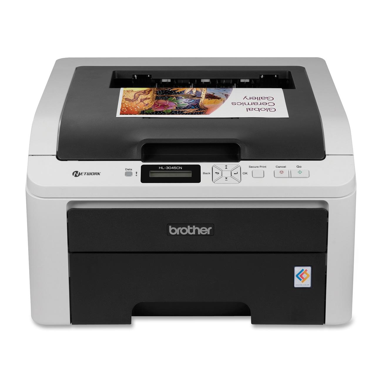 Brother HL-3045CN LED Printer - Color - 2400 x 600 dpi Print - Plain Paper Print - Desktop - 19 ppm Mono / 19 ppm Color Print - 250 sheets Standard Input Capacity - Manual Duplex Print - LCD - Ethernet - USB 0