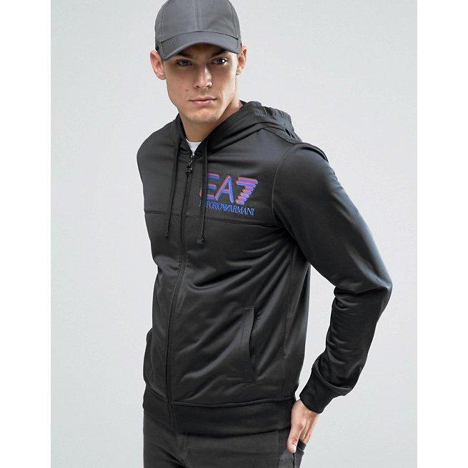 美國百分百【全新真品】Emporio Armani 外套 連帽 夾克 EA7 尼龍 運動 黑色 XS S號 H799