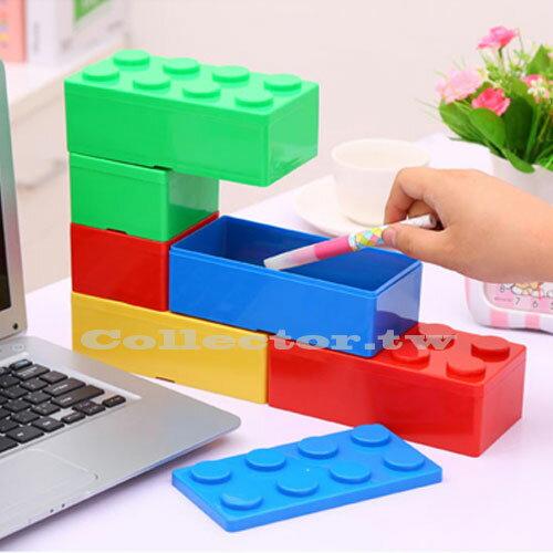 【F16100301】長方形積木造型可疊加收納盒 任意組裝搭配收納盒 辦公書桌文具收納盒