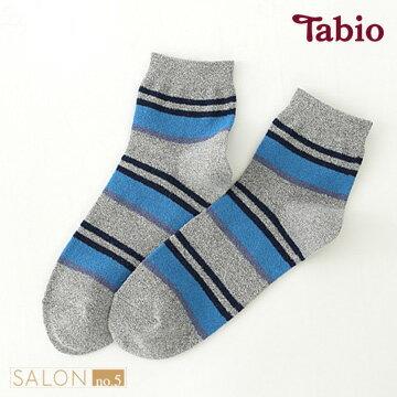 日本靴下屋Tabio 男款毛巾紗條紋休閒棉質短襪