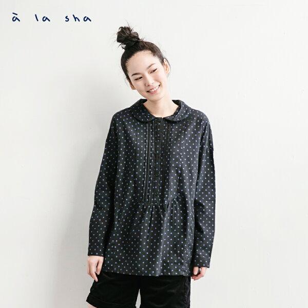 a la sha:àlasha點點寬鬆復古前中抽褶長袖衫