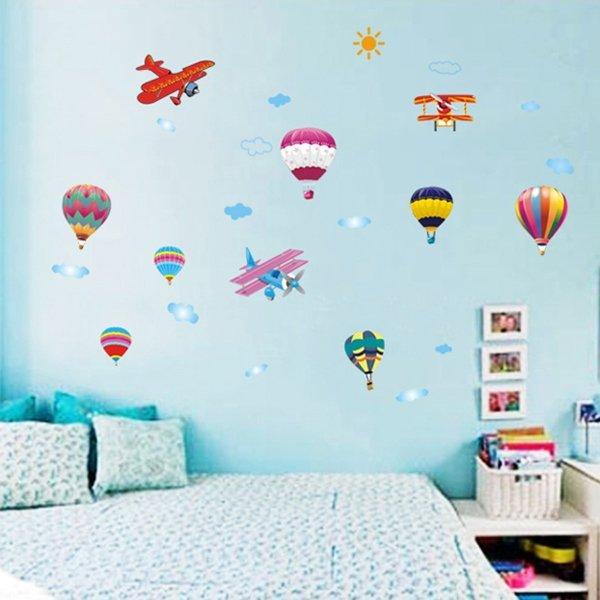 BO雜貨【YV0632】DIY時尚裝飾組合可移動壁貼 牆貼 壁貼 創意壁貼 飛機熱氣球AY622