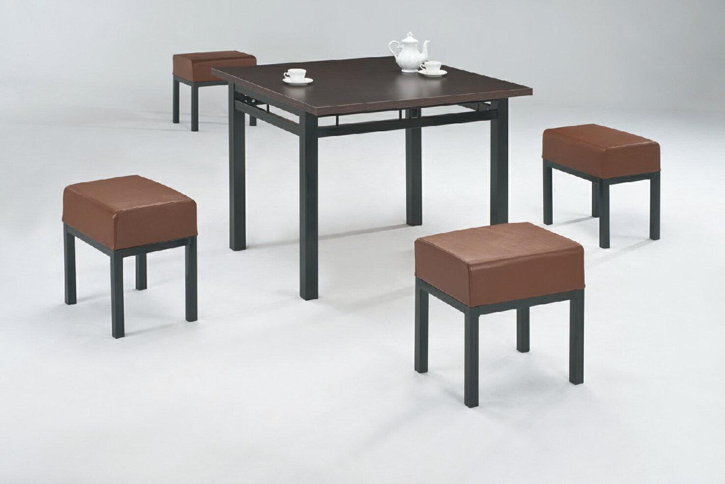~ IS空間美學~2.5尺鐵刀木色602餐桌 超厚特級單人板凳 1桌4椅