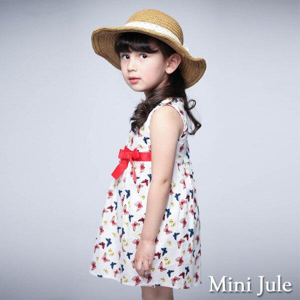 《MiniJule童裝》洋裝滿版蝴蝶無袖洋裝(白)